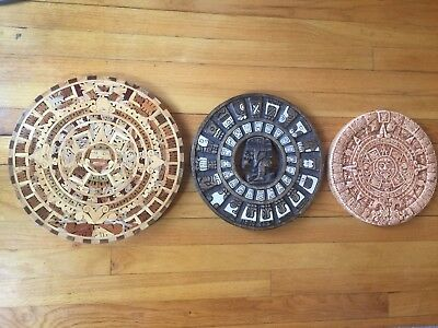 Mayan Baktun 13 wood Calendar Aztec Ceramic Hand Carved Folk Indigenous Art old