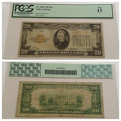 Vintage 1928 $20 Gold Certificate Fr. 2402 Pcgs 15 Fine Jackson Pmg Yellow Gold