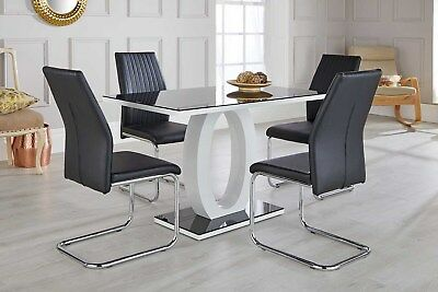 GIOVANI Black/White High Gloss Glass Dining Table Set and 4 Leather Chairs Seats