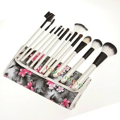 Hot Professional 12PC Cosmetic Makeup Brush Kit Make Up With Bag NEW