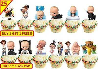50 BOSS BABY Birthday Party Cup Cake Edible Wafer Toppers Stand up Decorations