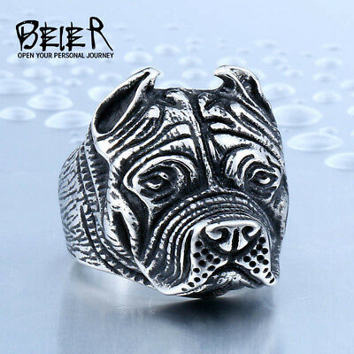 Beier new store 316L Stainless Steel ring top quality Pit Bull Bulldog Dog Ri...