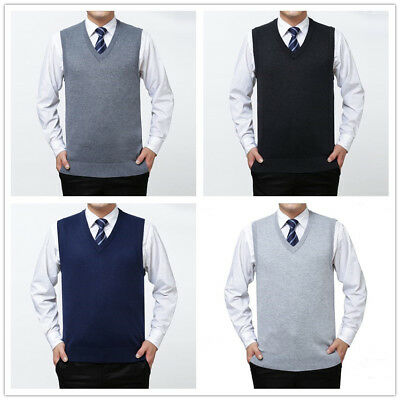 Men Soft Sweater Knitted Vest Warm Cashmere Wool V Neck Sleeveless Pullover Tops