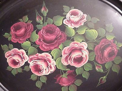 "VTG Hand Painted ""Roses"" Toleware Tray by Philcrim for John Wannamaker 29 x 23"