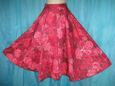 BEAUTIFUL Pink & Red FLORAL ROSE Quilted Gold SWING STYLE Vintage SKIRT S