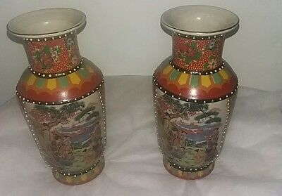 Pair Of Late C19? Japanese Hand Painted Vases 💕💕 Make Me An Offer 💕💕