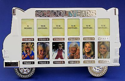 My School Years Bus White Silver Photo Frame School Year Memory 12 Hole Gallery