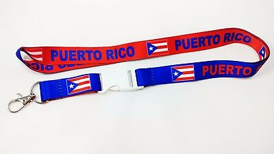 Puerto Rico red/blue reversible lanyard/keychain, Fast Free Shipping