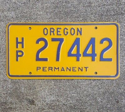 Oregon License Plate Yellow With Blue Letters