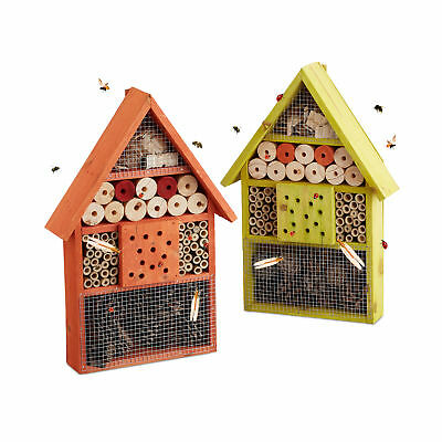 Insect Hotel in 2 Color Variations, Bee or Bug House, Hybernation & Nesting Aid