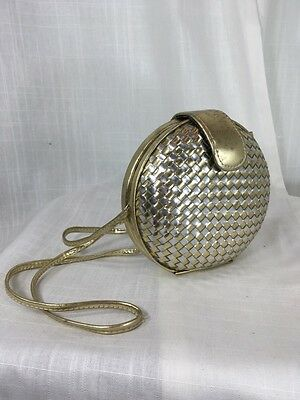 Vintage 1980's Gold & Silver Leather Woven Round Purse