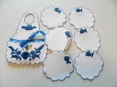Hungarian Hand Embroidered Set Of 6 Coasters With Matching Holder