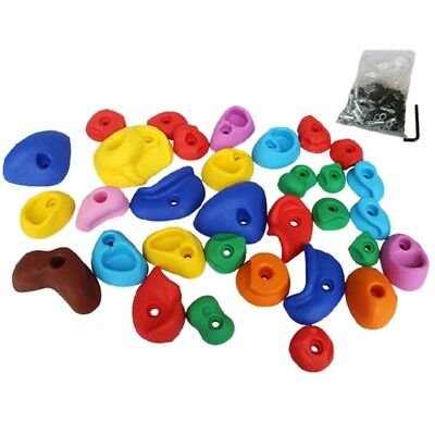 32PCS Rock Climbing Holds Assorted Color Screw On Kids Children Playground Parts