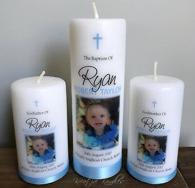 Personalised Christening Candle Set / Baptism Candle or Naming Day Candle