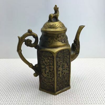 Exquisite China Handmade Copper Carved Good Wish Character 福禄寿 Teapot