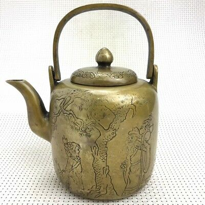 Exquisite China Handmade Copper Carved Mountain Bird Statue Tree Handle Teapot