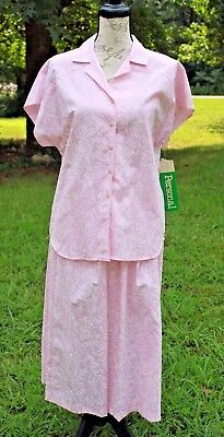 Vtg 60s 70's Personal By Leslie Fay Pink & White Top w/ Matching Skirt 12/14 NWT