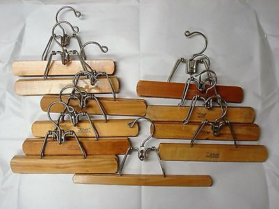 Vintage Setwell Wooden Pant or Skirt Hangers, Lot of 11