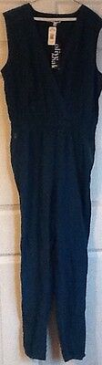 New With Tag Olive & Oak Ladies Teal Jump Suit One Piece Jumper Size Large