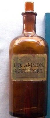 Old Amber Glass Chemist/pharmacy Bottle With Stopper