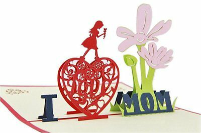 Mother's Day Gift 3D Greeting Card I Love Mom Pop Up Birthday Thank You Card