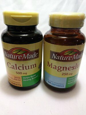 2 Pack Nature Made Magnesium 250Mg 90 Softgels & Calcium 500Mg 130 Tablets 10/18