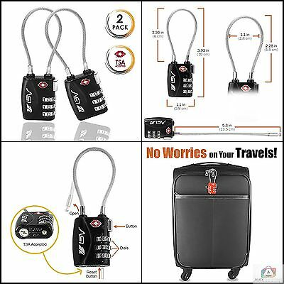 TSA Approved Luggage Travel Lock 2 Pack Combination Lock for School Gym Locker