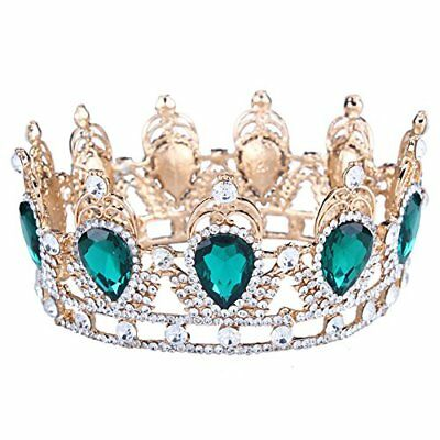 King/queen Crown Stone Sapphire Tiaras Gold Plated Hair Jewelry Accessories