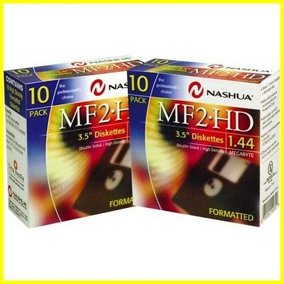 2x10 Pack Nashua Disketten MF 2HD Komputer PC Floppy formatiert 1.44MB MB 8.9cm