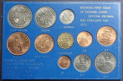 1971 Britains First Decimal and Last £sd 11 Coin Set Uncirculated