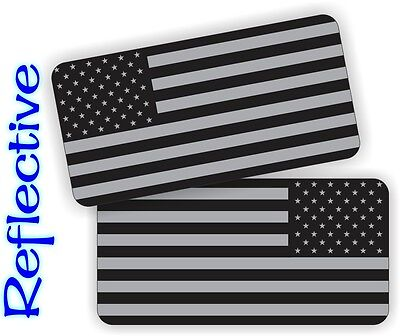(2) REFLECTIVE American Flags Hard Hat | Motorcycle Helmet Decals Stickers USA