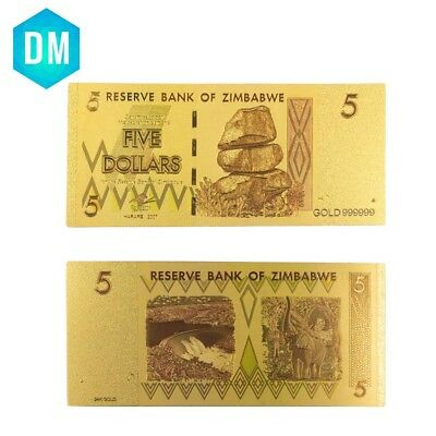 Good Quality Colorful Zimbabwe 5 Dollar Gold Banknote Valuable Collection