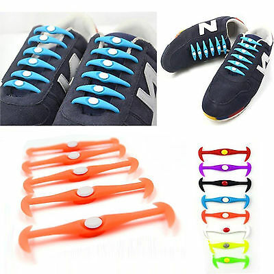 12 Pcs Lazy Shoe String Laces Easy Sneaker Elastic No Tie Shoelaces Silicone