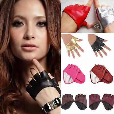 Fashion Women Ladies Half Finger PU Leather Gloves Fingerless Palm Driving Show
