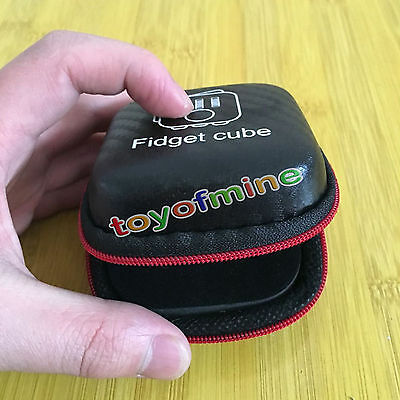 Fidget Cube Anxiety Stress Relief Focus Dice Bag Case Carry Packet Black