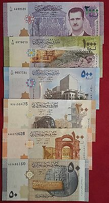 SYRIA 50 100 200 500 1000 2000 pounds 2009 2013 2015 2017 UNC set!