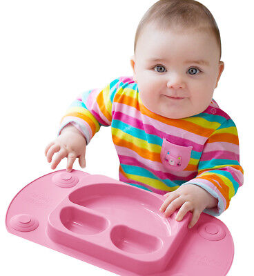 Mini EasyMat® Baby Suction Plate and Placemat In One (Pink)