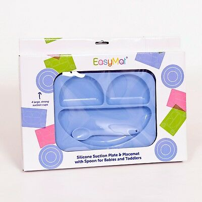 EasyMat®  Baby Suction Plate and Placemat In One (Blue)