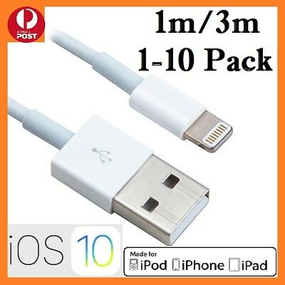 1-10Pcs 1M/3M USB Data Charging Cable for iPhone 5 5S 6 7 7Plus iPad 4 Air white