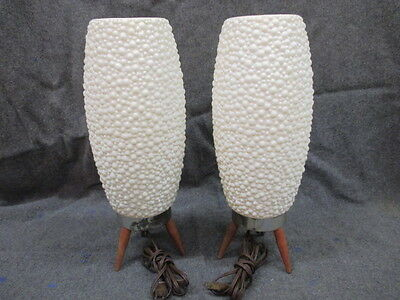 Mid Century Modern Beehive Plastic Lamps Set Of Two