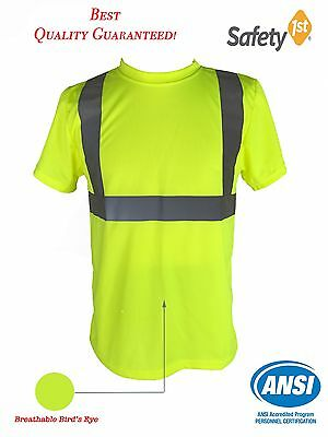Hi Vis T Shirt ANSI Class 2 Reflective Safety Lime Short Sleeve HIGH VISIBILITY