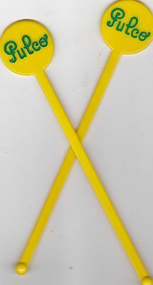 Pulco - Lot De 2 X Touilleur Agitateur Jaune - Bar Bistrot Cocktail - Tbe