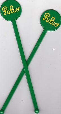 Pulco - Lot De 2 X Touilleur Agitateur Vert - Bar Bistrot Cocktail - Tbe