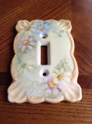 Vintage Hand painted Floral Light Switch Cover Signed Jh