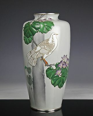 Rare And Unusual Antique Japanese Cloisonne Vase W Relief And Silver Signed