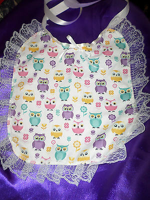 White Multi Owl Lace Trimmed  Adult Baby Sissy Bib Satin Ties Plastic Backed