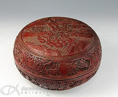 Large Antique 18C Chinese Carved Lacquer Cinnabar Round Box With Figures