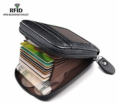 Men Wallet Genuine Leather Credit Card Holder RFID Blocking Zipper Thin Pocket