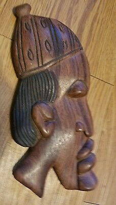 Wooden African Mask Wall Hanging ~ Tribal Face Hand Carved VGC