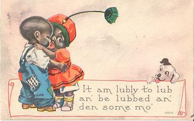 """Vintage Black Americana card """"lubly to lub an be lubbed an den some mo"""" 1915"""